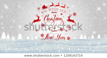 merry christmas inscription with snowflakes trees stock photo © robuart