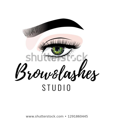 Eyebrow and eyelashes studio logo, beautiful perfect eye makeup design, long black lashes, vector Stock photo © MarySan