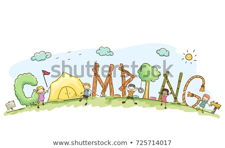 Stickman Kids Summer Camp Lettering Illustration Stock photo © lenm