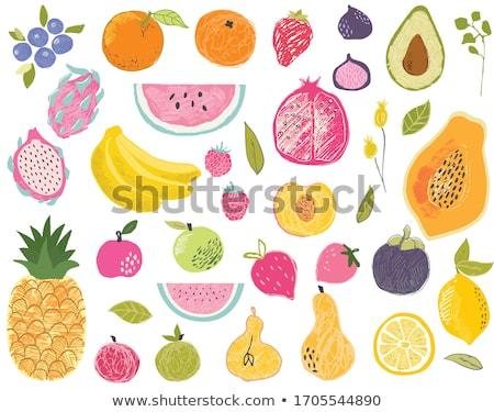 パイナップル アボカド セット ポスター 文字 黄色 ストックフォト © robuart