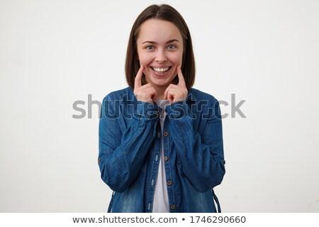 retrato · bastante · morena · mulher · olhando · câmera - foto stock © studiolucky