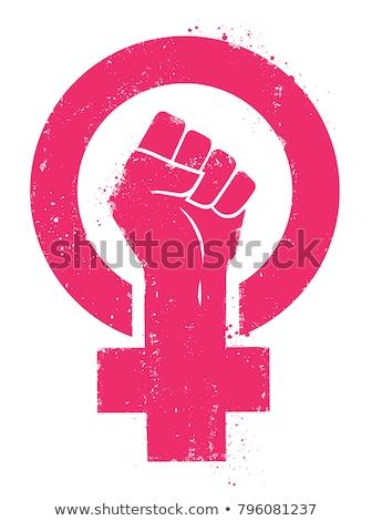 Feminino mãos feminista assinar feminismo símbolo Foto stock © beaubelle