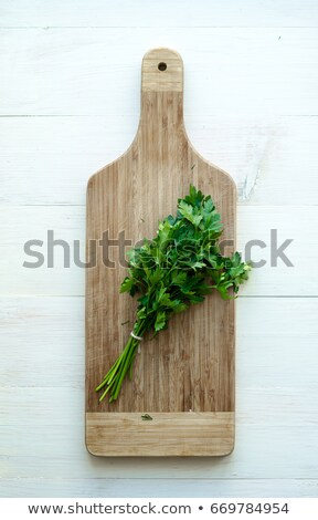 Culinary background with knife, parsley and cutting board stock photo © furmanphoto