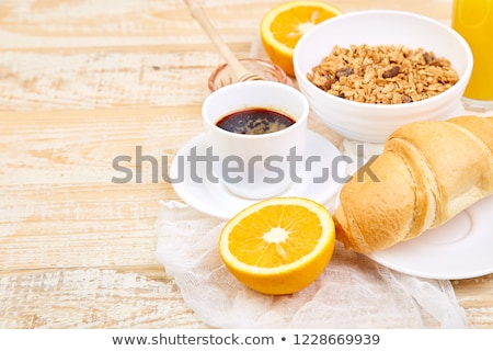 Good morning. Continental breakfast on ristic wooden background.  Stock photo © Illia