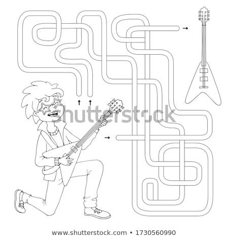 maze color book with boy and guitar Stock photo © izakowski