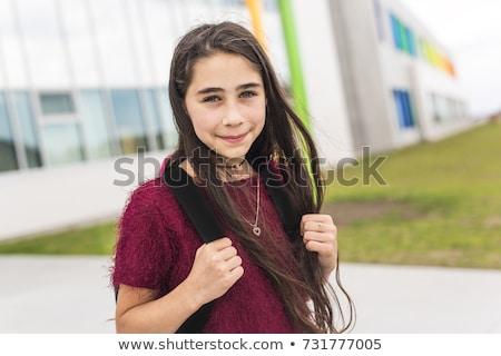 neuf · ans · fille · étudiant · école · heureux · enfant - photo stock © lopolo