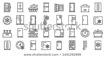 Stok fotoğraf: Vektör · ayarlamak · buzdolabı · mutfak · çelik · elektrik