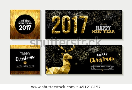 vrolijk · christmas · gelukkig · nieuwjaar · posters · dieren · ingesteld - stockfoto © robuart