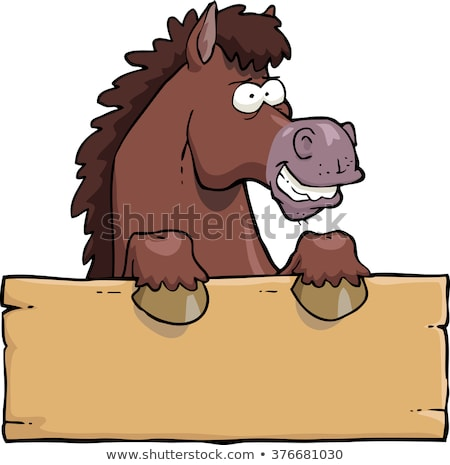 Happy Cartoon Horse mascot  With A Blank Sign Stock photo © doomko