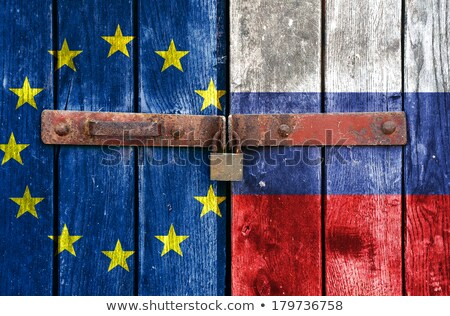 Russia flag in wooden frame Stock photo © colematt
