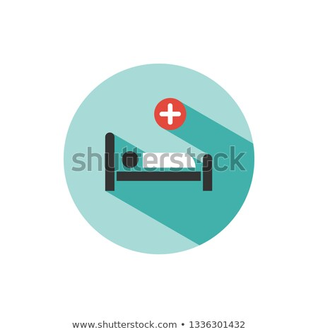 hospital bed medicine flat color icon with shadow on a green circle stock photo © imaagio