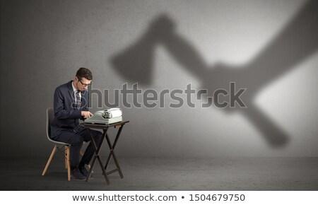 Sombra trabalhador homem trabalhar fundo terno Foto stock © ra2studio