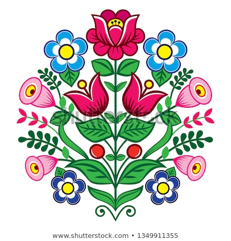 Stock photo: Floral cute vector pattern from Poland, folk art vector design, Zalipie decorative pattern with rose