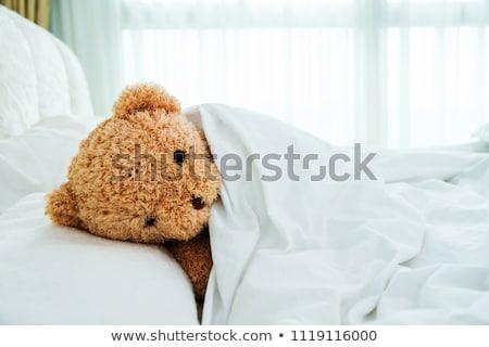 ребенка кровать плюш мишка ребенка улыбка Сток-фото © Lopolo