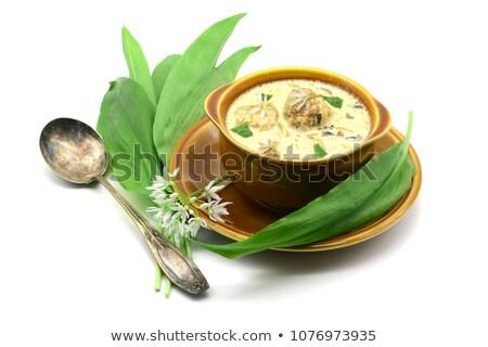 Orso aglio erbe zuppa fatto in casa Foto d'archivio © Peteer