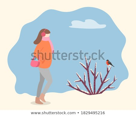 Lady Walking Wearing Warm Clothes Carrying Bag Stock photo © robuart
