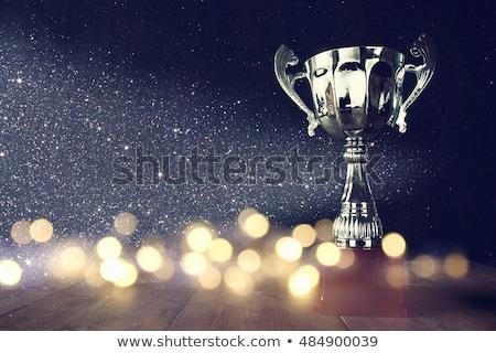 giovani · donna · d'affari · vincente · trofeo · ritratto · eccitato - foto d'archivio © boggy