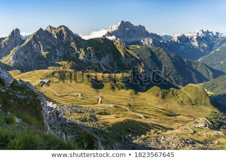 Giau Pass mountains valley at daylight Stock photo © frimufilms