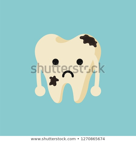 dental caries, toothache, bad teeth, limestone. diseased tooth and oral cavity. on blue background.  Stock photo © kyryloff