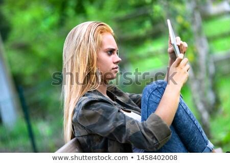 Onzeker jonge vrouw staren handen bank Stockfoto © Giulio_Fornasar