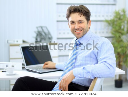 Stock photo: Portrait of office man with portable computer