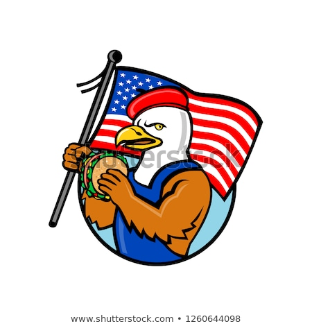 American Eagle Holding Burger and USA Flag Mascot Stock photo © patrimonio