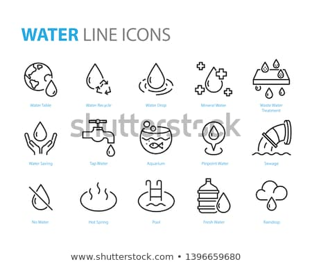 Raining Cloud H2O Rain Vector Thin Line Sign Icon stock photo © pikepicture