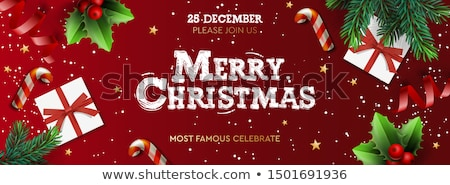 Merry Christmas banner, Xmas Party with gifts box, green pine branches, candy stick and holly berry. Stock photo © ikopylov