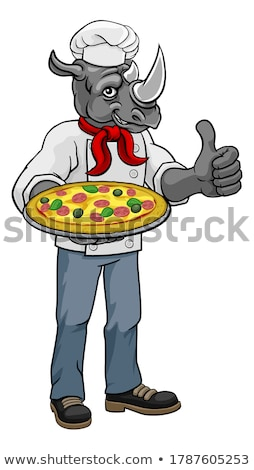 Rinoceronte pizza chef desenho animado restaurante mascote Foto stock © Krisdog