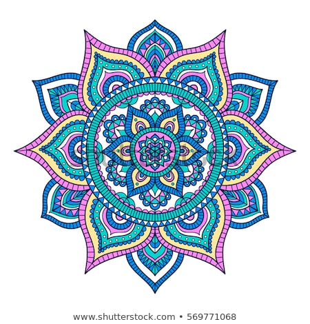 Mandala dizayn pembe mavi renk örnek Stok fotoğraf © bluering