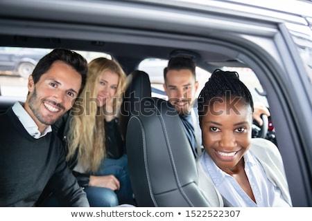 Portret rasowy znajomych posiedzenia samochodu szczęśliwy Zdjęcia stock © AndreyPopov