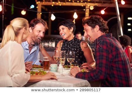 Mutlu orta yaşlı kadın restoran insanlar yaşam tarzı Stok fotoğraf © dolgachov