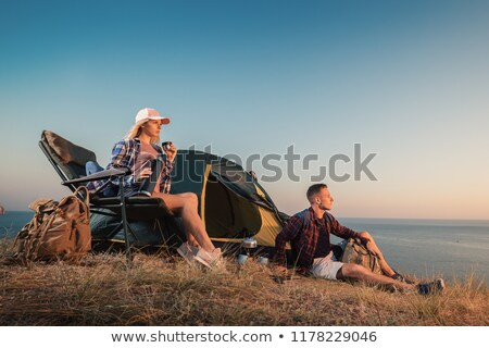 Camping and Man in Tent, Summer Outdoor Activity Stock photo © robuart