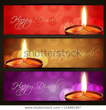 traditional happy diwali banner with three diya Stock photo © SArts