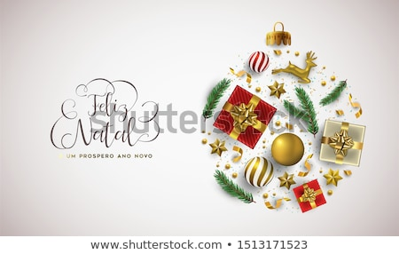 Christmas New Year portuguese card gold xmas ball Stock photo © cienpies