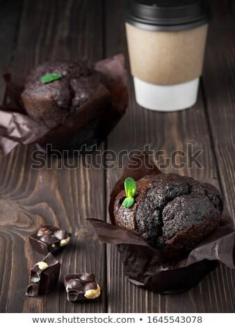 Vers pure chocola muffins mint bladeren beker Stockfoto © marylooo