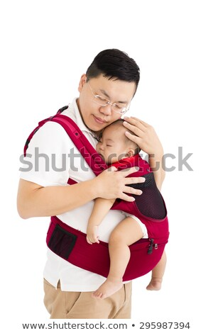 father holding Tired child Isolated on the White Background Stock photo © Lopolo