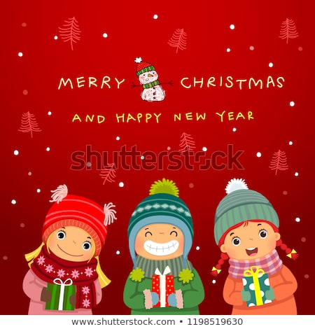 Hello Winter Greeting Card with People and Snowman Stock photo © robuart