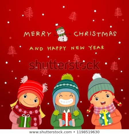 Hello tél üdvözlőlap emberek hóember vektor Stock fotó © robuart