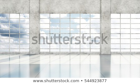 Empty Airport Hall with Glass Windows and White Column. Stock photo © ShustrikS