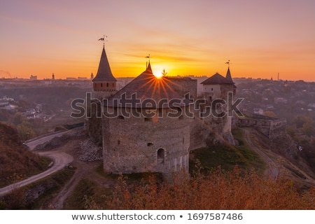 medieval castle or stronghold silhouette and beautiful sunset Stock photo © Arsgera