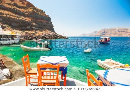 Plage bar Grèce coucher du soleil bois meubles Photo stock © simazoran