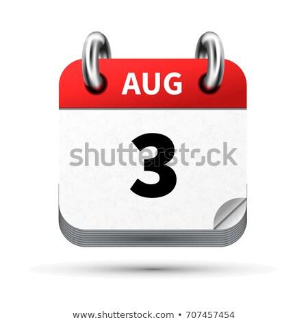Brilhante realista ícone calendário agosto data Foto stock © evgeny89