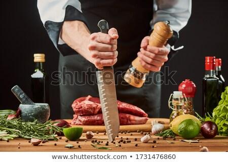 mad · kucharz · wałkiem · nóż · kuchnia · restauracji - zdjęcia stock © vladacanon