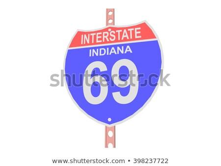 Сток-фото: Индиана · шоссе · знак · высокий · разрешение · графических · облаке