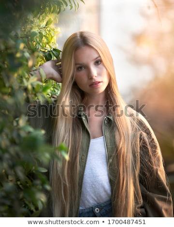 szőke · citromsárga · levelek · arc · boldog · természet - stock fotó © paha_l