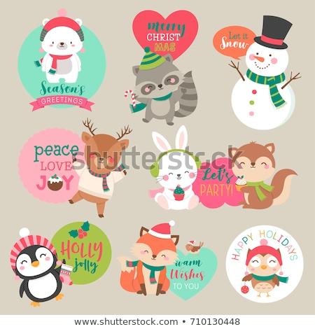 Cute christmas odznaki Pingwin kółko banner Zdjęcia stock © kariiika
