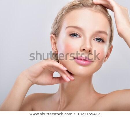mulher · batom · vermelho · lábios · beleza - foto stock © darrinhenry