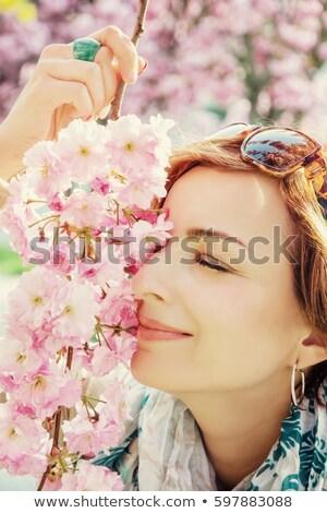 женщину · вишни · пейзаж · синий · Spa · ванны - Сток-фото © photography33
