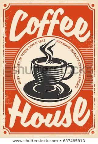 Kawy starych plakat restauracji pić tablicy Zdjęcia stock © Archipoch